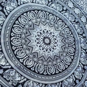 Elephant Mandala Black & White Twin Tapestry